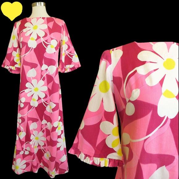 d36cfc0b1fc5 Vintage Dresses | 60s 70s Floral Hippie Caftan Maxi Dress L | Poshmark